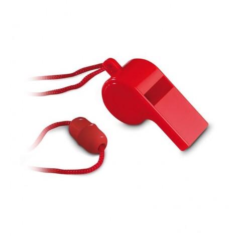 Plastová píšťalka se šňůrkou, červená