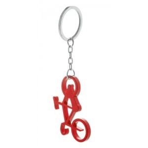 Kovová klíčenka s otvírákem, červená