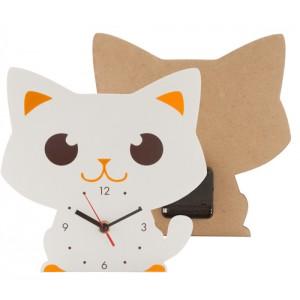 Nástěnné hodiny, kočka, oranžová