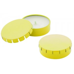 Svíčka v kovové krabičce, žlutá