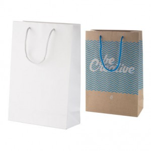 Střední papírová nákupní taška na zakázku 24x10x35 cm