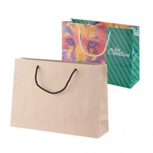 Horizontální papírová nákupní taška na zakázku 35x10x25 cm