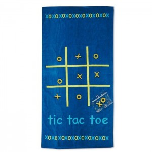 Ručník s hrou piškvorky 100% bavlna, modrý