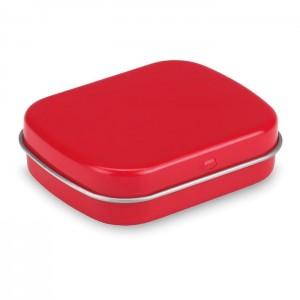 Plechovka s 28 g bonbónů, červená