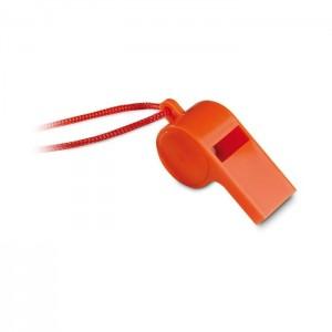 Plastová píšťalka se šňůrkou, oranžová