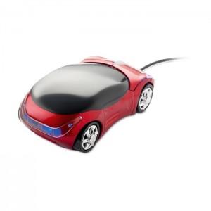 Optická myš ve tvaru auta, červená