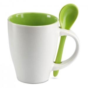 Keramický hrnek se lžičkou 300 ml, zelený