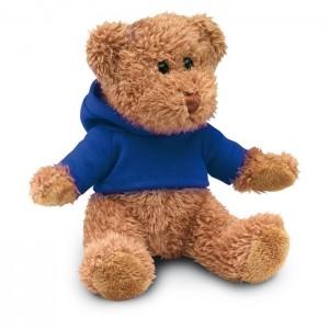 Plyšový medvídek v tričku s kapucí, modrý