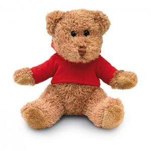 Plyšový medvídek v tričku s kapucí, červený