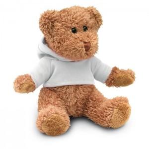 Plyšový medvídek v tričku s kapucí, bílý