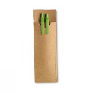 Sada tužky a pera z papíru, světle zelená