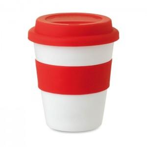 Plastový pohárek s víčkem 0,35 l, červená