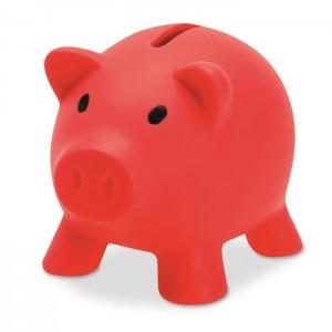 Plastová pokladnička - prasátko, červená