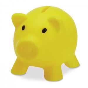 Plastová pokladnička - prasátko, žlutá