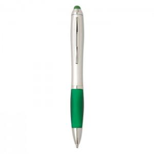 Plastová propiska se stylusem, zelená