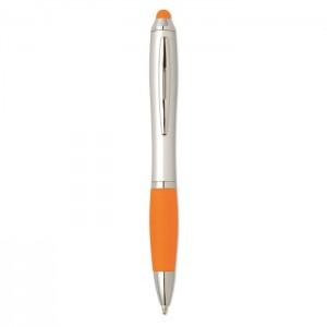 Plastová propiska se stylusem, oranžová