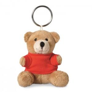 Klíčenka s plyšovým medvídkem, červená
