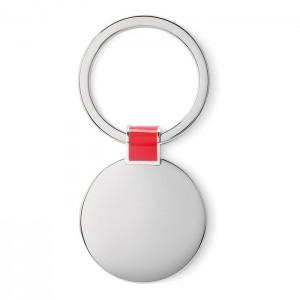 Oválná kovová klíčenka, červená