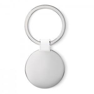 Oválná kovová klíčenka, bílá
