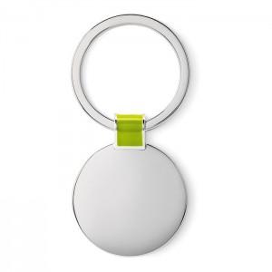 Oválná kovová klíčenka, světle zelená