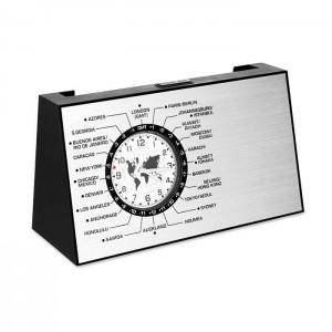 Stolní hodiny s držákem na vizitky, stříbrná