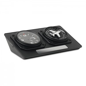 Analogové stolní hodiny, černá