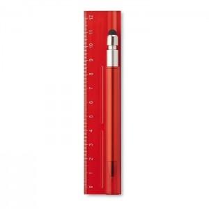 Plastové pravítko 12 cm s propiskou, červená