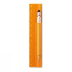 Plastové pravítko 12 cm s propiskou, oranžová