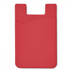 Silikonový držák na karty, červená