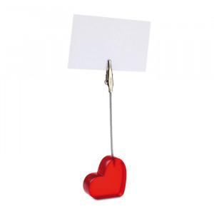 Plastový klip ve tvaru srdce, červená