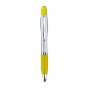 2v 1 plastové pero a zvýrazňovač, žlutá