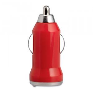 USB nabíječka do auta, červená