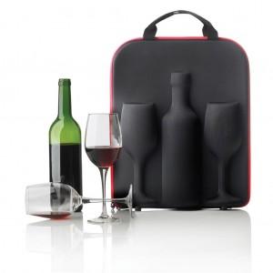 Luxusní obal na víno, dvě skleničky